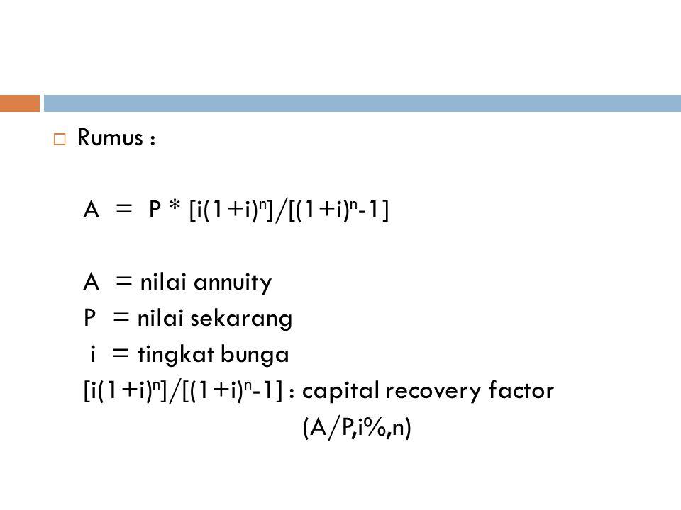 Rumus : A = P * [i(1+i)n]/[(1+i)n-1] A = nilai annuity. P = nilai sekarang. i = tingkat bunga.
